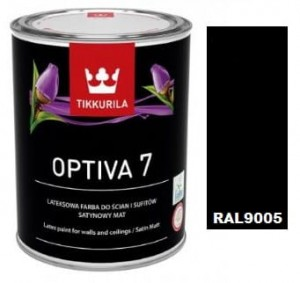 TIKKURILA Optiva Satin Matt 7 0,9l KOLOR RAL9005 CZARNY